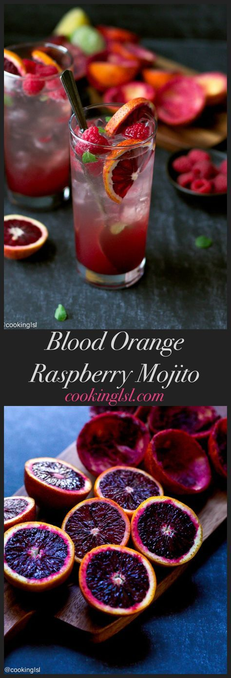 Blood Orange And Raspberry Mojito Recipe - tartly sweet, simple to make cocktail,that tastes delicious.