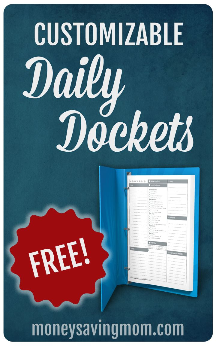 This is the Daily Docket I use for myself. It includes portions of my cleaning lists which are unique to my own situation. You can also download a customizable version which allows you to type in your own information directly into the form.