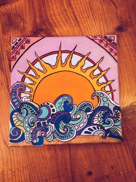Sunrise Over Octopus Waves on Acrylic Canvas by JillBatesPaintings