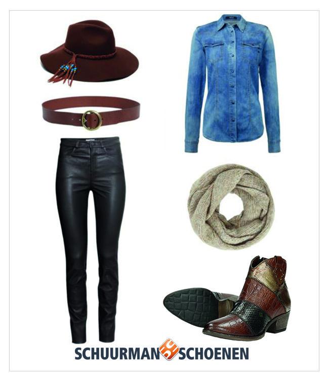 De dames begeven zich dit najaar is westerse sferen! Een mooie zwarte leren broek, een spijkerblouse en stoere western enkellaarsjes van MJUS. Om de look wat extra's te geven, draag je een sjaal, hoed en een mooie leren riem. Klik om de schoenen in onze webshop te bekijken!
