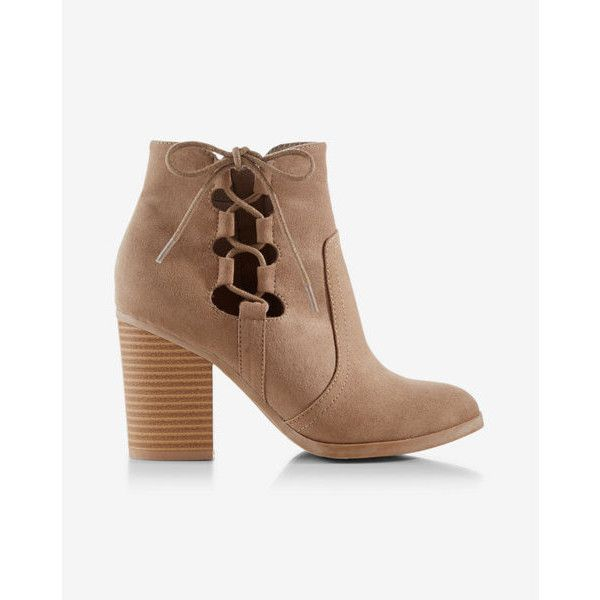 Express Side-tie Western Bootie ($30) ❤ liked on Polyvore featuring shoes, boots, ankle booties, neutral, lace up cowboy boots, short cowboy boots, western boots, cowboy boots and lace up booties