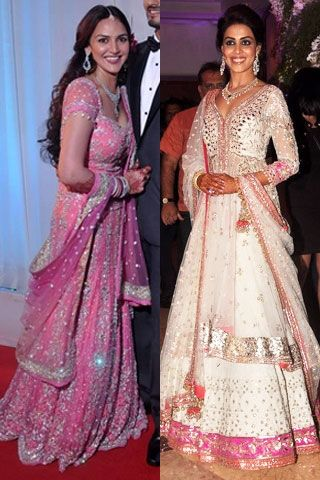 Genelia D'Souza's wedding outfit...   Monsoon Wedding Wear| What to wear to a Sangeet| Esha Deol Wedding Pictures| Genelia D'Souza Wedding Pictures| Pidilite CPAA Charity Fashion Show| | Vogue INDIA