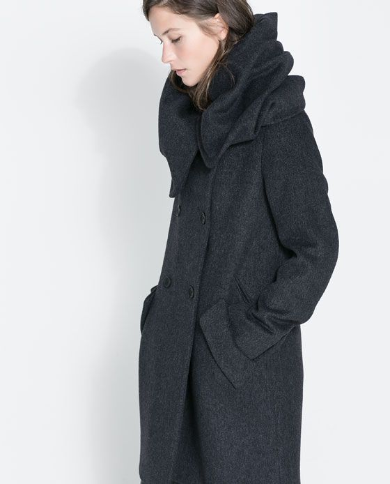 WOOL COAT WITH WRAP AROUND COLLAR from Zara - $159.