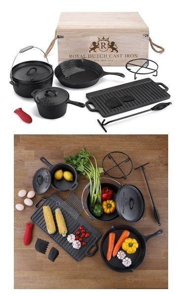 Cast Iron Cookware Set Vintage Kitchen Cooking Gift Skillet Pots Griddle 11 Pc #CastIronCookwareSet