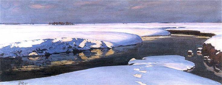 Julian Fałat - Krajobraz zimowy z rzeką, 1907