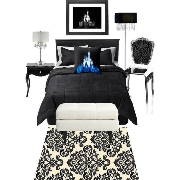 The focal point of this bedroom is the Disney throw pillow. The beautiful blue color stands out boldly against the black and white theme of the room. This room...