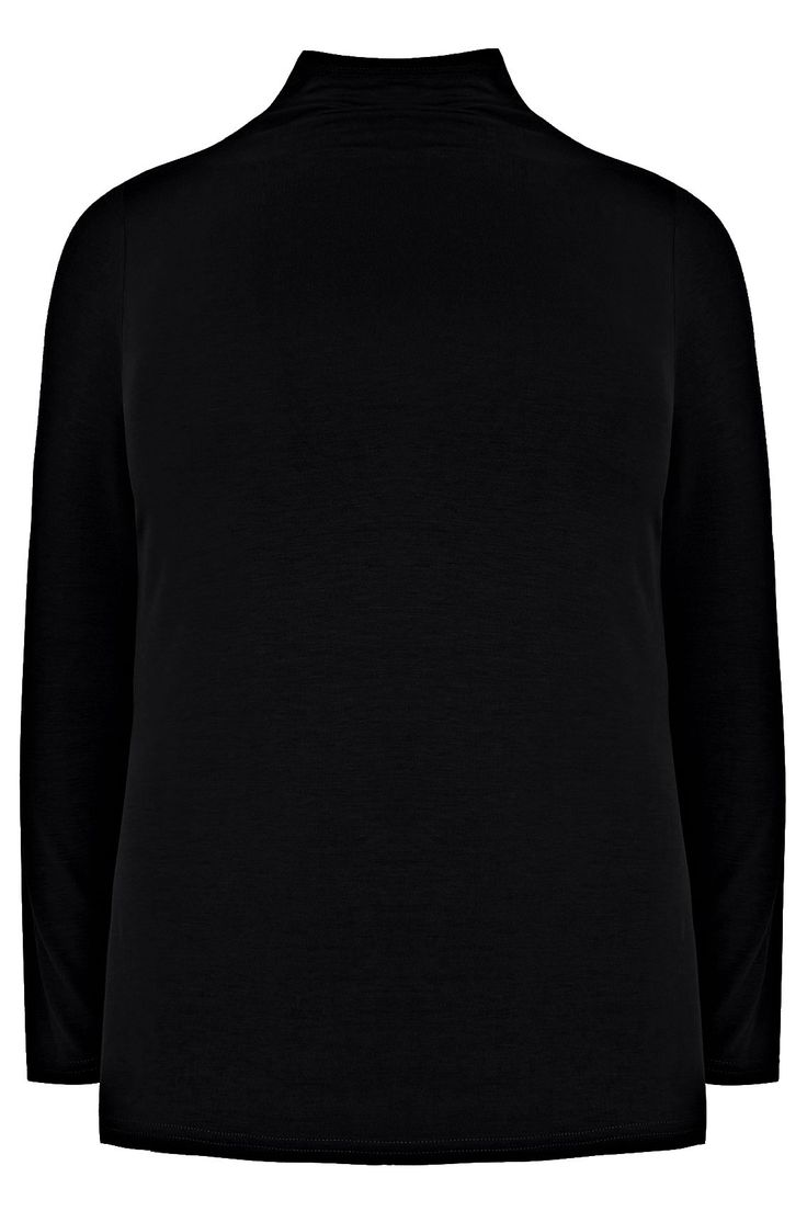 Black Turtle Neck Long Sleeved Soft Touch Jersey Top