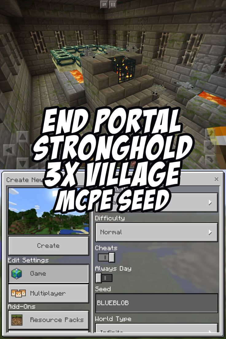 End Portal (Stronghold) and 3 Village Spawn. Seed:BLUEBLOB