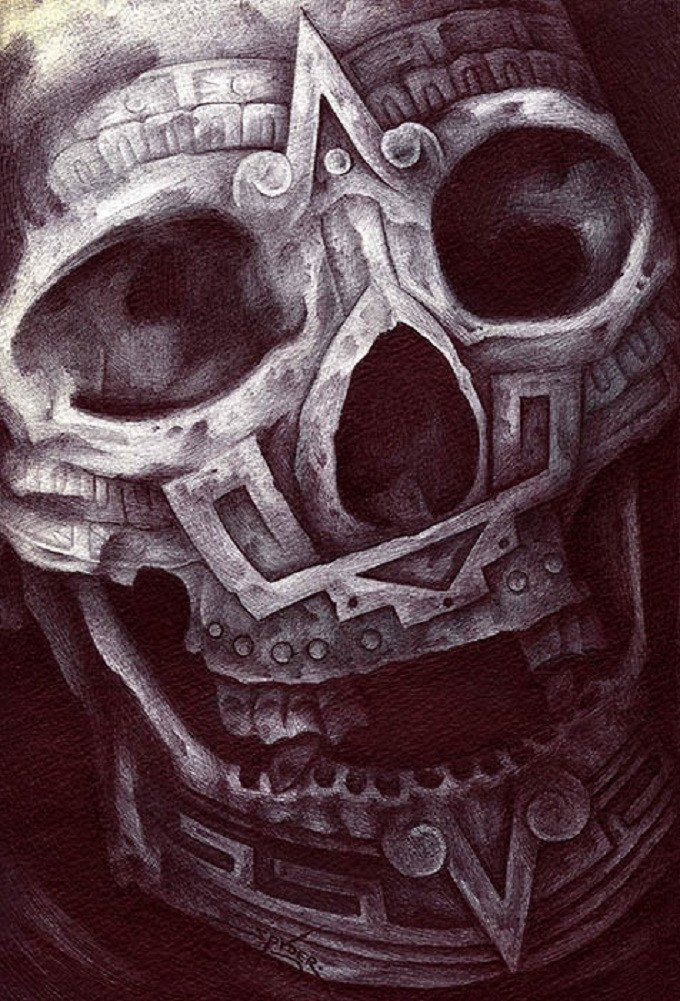 Aztec Skull by Spyder Ancient Mexico Tribal Tattoo Canvas Art Print