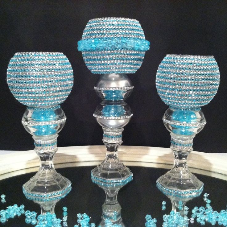 3 Piece Set Turquoise With Diamond Bling Candle Holder ...