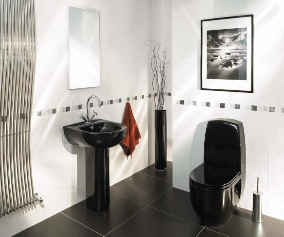Bedroom, Bathroom Sink Black Vase Beside Her Handkerchief Stainless Warn Black Wall Mirror Black Toilet Wall Hangings, Charming Black And White Bathroom Selection