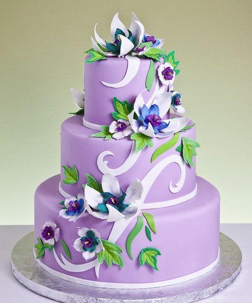 Purple Flower Cake Boss Wedding Cake