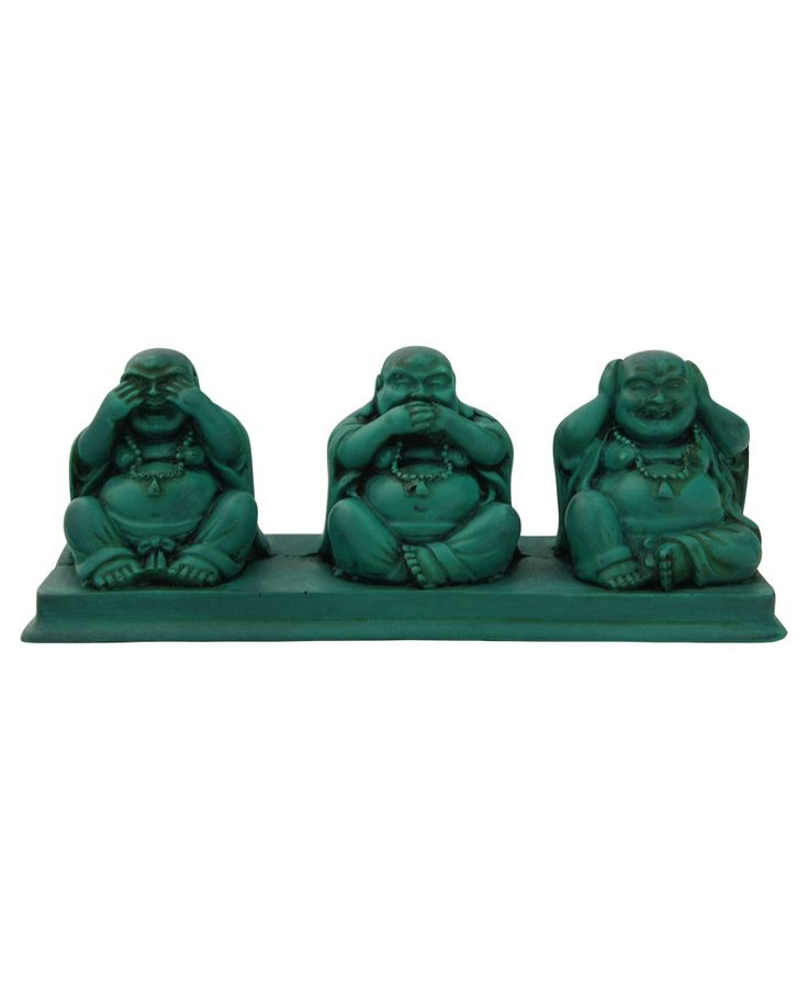 Happy Buddha Statue depicting See No Evil, Speak No Evil, Hear No Evil. Made of resin with antique turquoise finish, available at BuddhaGroove.com.