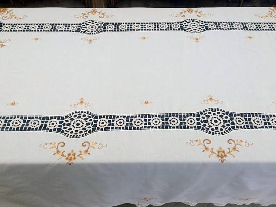 Embroidered Vintage Linen Tablecloth with Crochet Detail. Cross Stitch Embroidered Ivory Linen Tablecloth with Crochet Lace Inlays RBT1796