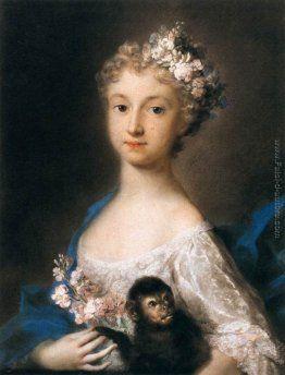 Giovane ragazza che tiene una scimmia, ca. 1721, pastelli su carta blu, Rosalba Carriera. Musée du Louvre, Parigi, Francia.
