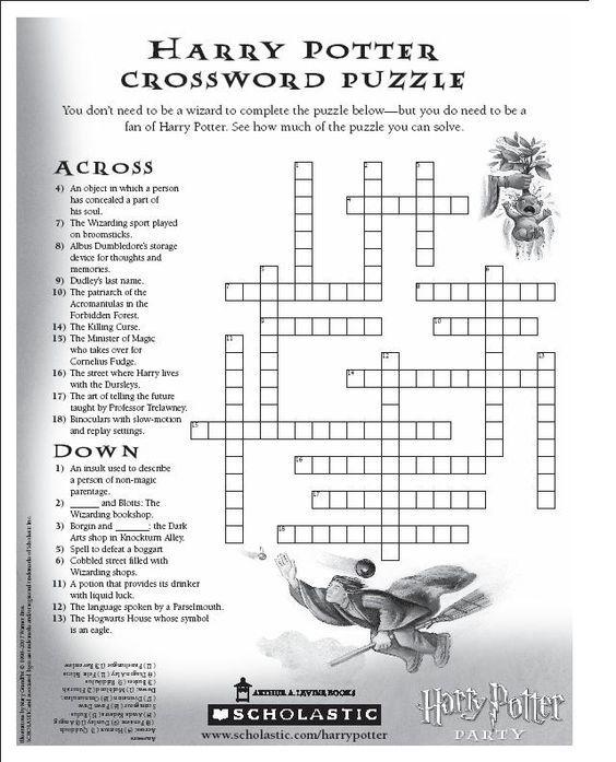 Harry Potter Crossword Puzzle: | Harry potter puzzle ...