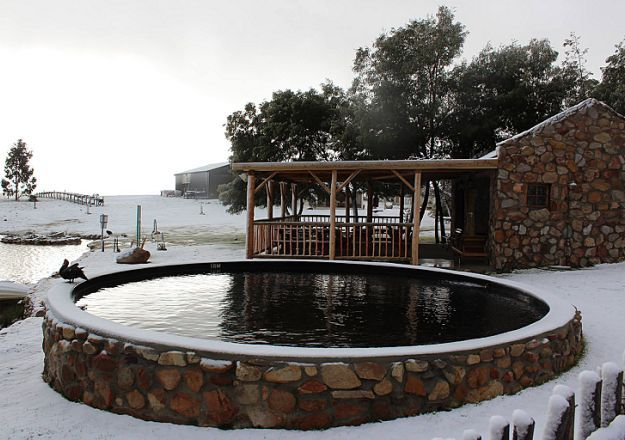 At Langdam-in-Koo in Montagu during the winter the snow falls thick and fast!