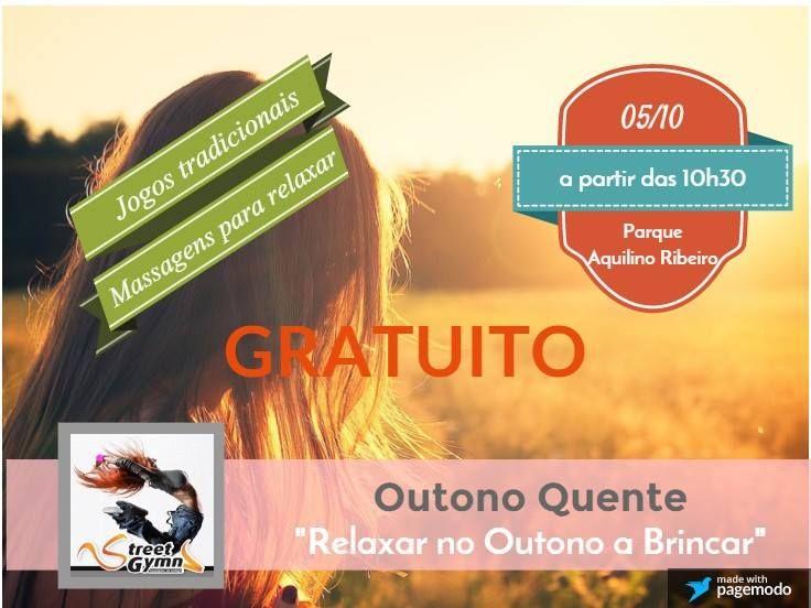 """""""Outono Quente"""", no Parque da Cidade - Parque Aquilino Ribeiro- com a atividades para pais e filhos e também massagens para relaxar. Gratuito."""