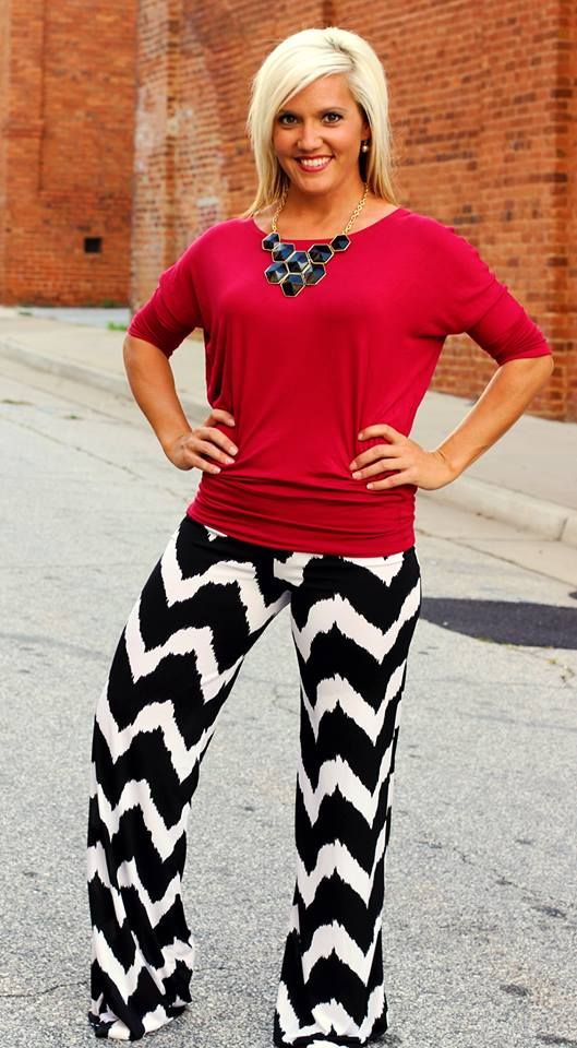 """Nicole"" Black/White Chevron Palazzo Pants.  S, M, L, XL, 2X, 3X.  $36.99.  Shown with our famous Dolman Top ($16).  Available at 105 West Boutique in Abbeville, SC.  (864) 366-WEST.  Shipping $5."