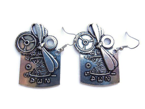 Steampunk earrings dragonfly earrings clock earrings door EraOfCrea