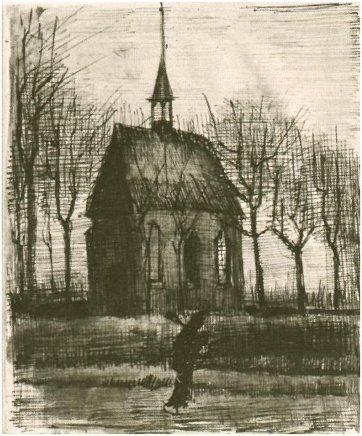 Vincent van Gogh Church in Nuenen, with One Figure