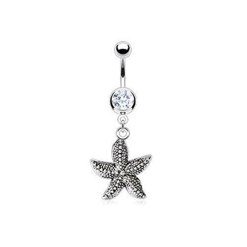 Bling Jewelry 316L Stainless CZ Vintage Nautical Starfish Dangle Belly Ring