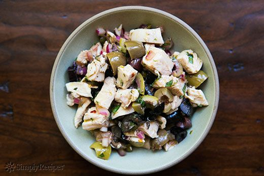 Mediterranean Chicken Salad ~ A Mediterranean style chicken salad with olive oil, vinegar, olives, capers, onions and fresh herbs. ~ SimplyRecipes.com