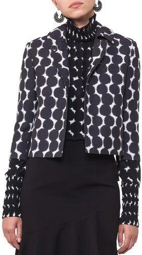 Akris Punto Punto Dot Lace Cropped Jacket