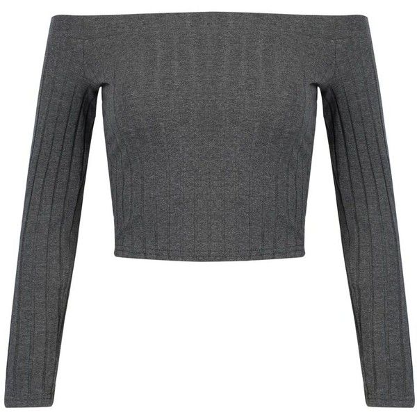 Gray Off Shoulder Long Sleeve Ribbed T-shirt ($20) ❤ liked on Polyvore featuring tops, t-shirts, shirts, sweaters, grey long sleeve shirt, long length t shirts, grey t shirt, t shirt and long sleeve cotton shirts