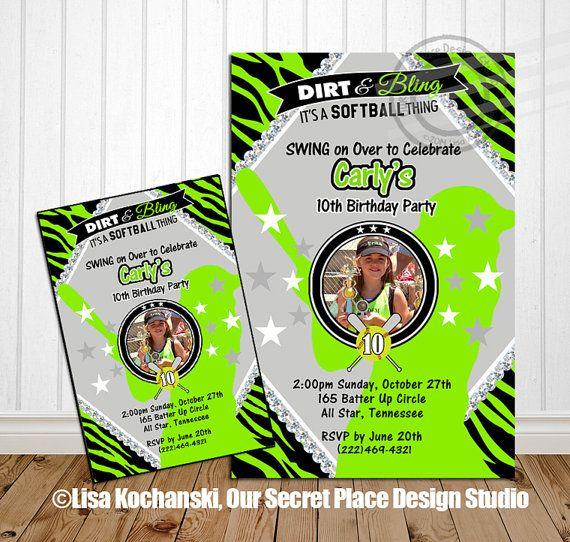printable softball birthday party invitations for girls softball