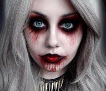 Inspiring image girl, cool, make up, bloody, doll, scary, red, blue eyes, makeup, Halloween, red lips #1298419 by korshun - Resolution 400x400px - Find the image to your taste