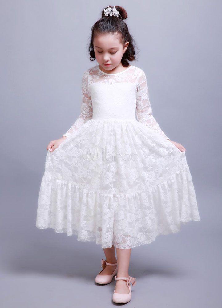b87f6ee06e Boho Flower Girl Dress Lace Ivory Long Sleeve Pleated A Line Pageant Dress  With Bowed Sash  Dress