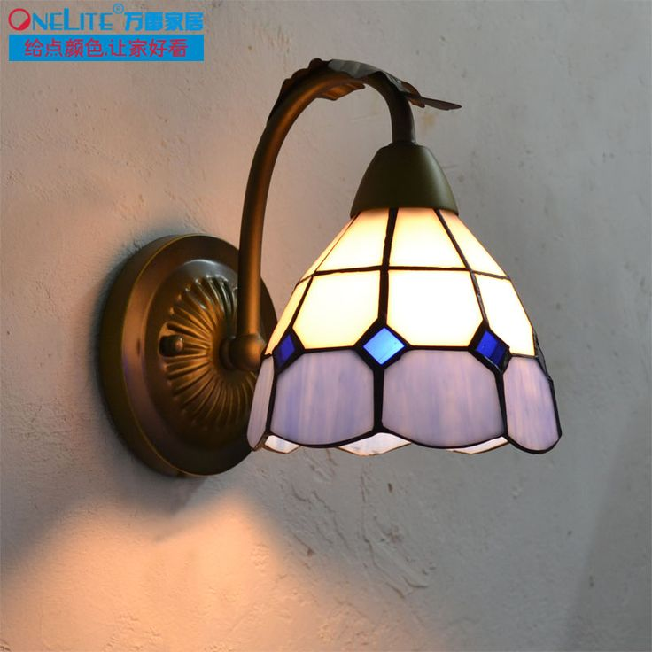 Blue and white tiffany lighting single and double 3 iron wall lamp bathroom multicolour glass mirror light(China (Mainland))