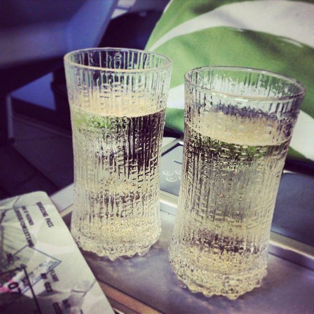 The glasses and Marimekko linens on board are so chic! #flyinginstyle #design… instagram.com/p/e88B6nRqo8/ Photo by SwellStudio