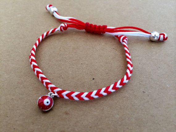 March Red and White Braided Bracelet with Lucky Eye by izou.gr, €8.00