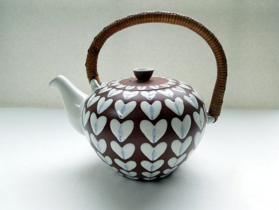 Mid Century Deense moderne thee Pot Ioska aardewerk rotan handvat Gift van de…