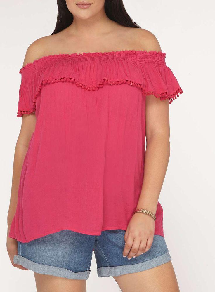 Womens DP Curve Plus Size Pink Pom Pom Detail Bardot Top- Pink