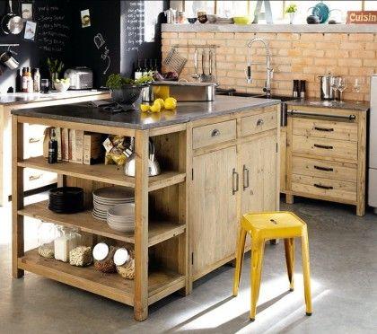 îlot de cuisine en bois et en béton #wood #kitchen #urbain #industrial #inspiration