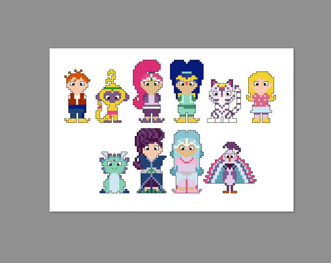 Shimmer and Shine Pixel People Character Cross Stitch PDF PATTERN ONLY