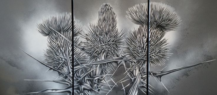 Thistles in 3 Parts.  Oil on canvas
