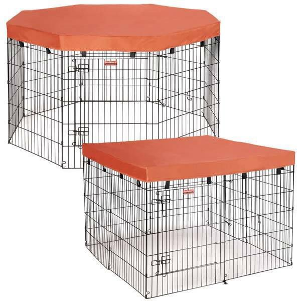 Keep your dog safely in the shade under this playpen cover. This cover from ProSelect secures with hook-and-loop fasteners, and it's water-resistant for protection if the weather turns. Orange playpen
