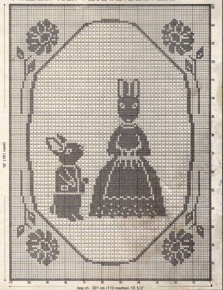 Bunny Filet Crochet Pillow  Free Crochet Pattern