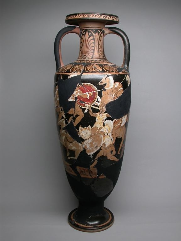 Greek, from Campania  Attributed to the Ixion Painter        Amphora, Late 4th century B.C.              Terracotta, red-figure technique