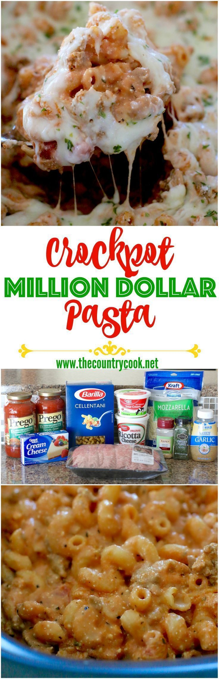 Crockpot Million Dollar Pasta recipe from The Country Cook. Creamy, flavorful pasta topped with hooey, gooey cheese! So easy too! We love to make a big batch of this and save leftovers for lunch & dinner during the week!