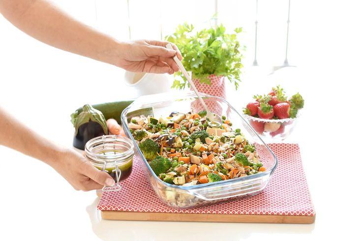 Ensalada de arroz salvaje y verduras con Thermomix