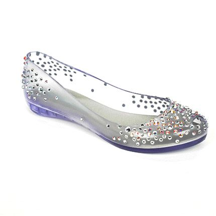 Melissa Shoes see through jelly diamante flats.