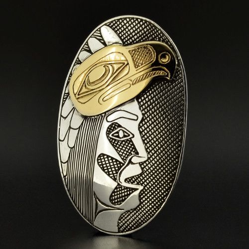 Eagle Dancer - Silver Pendant with 14k Gold Barry Wilson