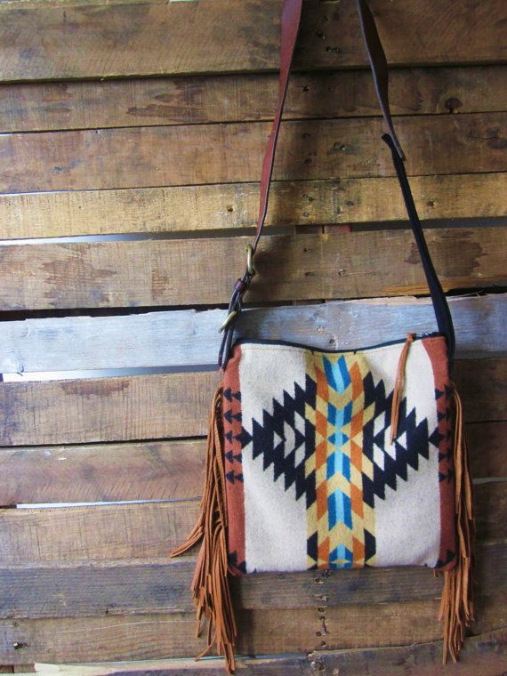 Black/ Teal/ Tan Aztec print Pendleton Wool and Leather purse with Fringe