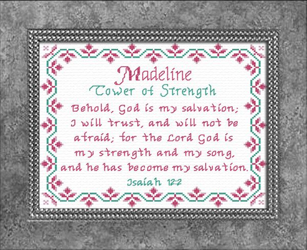 Madeline - Name Blessings Personalized Cross Stitch Design ...