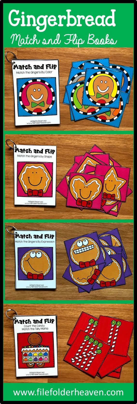 These Gingerbread Man Match and Flip Books focus on basic matching skills. In these activities, students work on matching picture to picture (or by emotion/expression), matching by color, and matching by shape, and matching by counting.  There are four Match and Flip Books included in this download.  Match the Gingerbread Man by Shape (Matching By Shape) Match the Gingerbread Man by Emotion/Expression (Matching By Picture/Emotion) Match the Gingerbread Man by Color (Matching By Color)